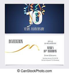 10 years anniversary invitation vector