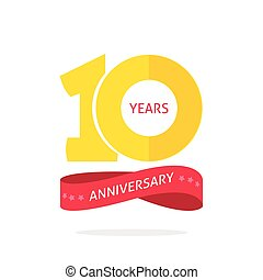 10 years anniversary logo template with a shadow on circle and number, 10th anniversary icon label, ten year birthday party symbol isolated on white background