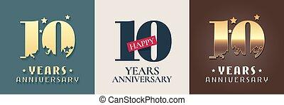 10 years anniversary set of vector icon, symbol, logo