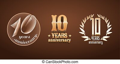 10 years anniversary set of vector logo, icon, number