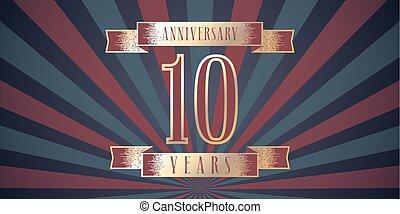 10 years anniversary vector icon, logo.