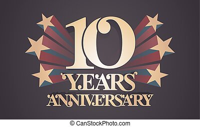 10 years anniversary vector icon, logo