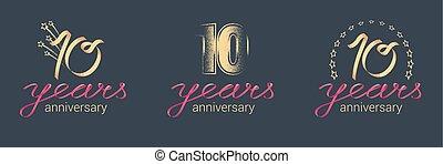 10 years anniversary vector icon, logo set