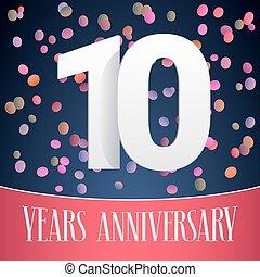 10 years anniversary vector icon, logo