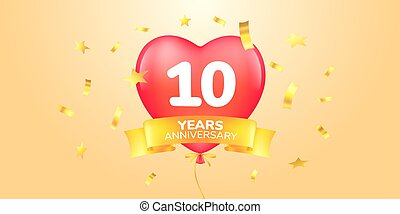 10 years anniversary vector logo, icon. Template banner, symbol with heart shape air hot balloon