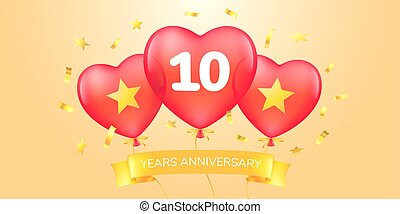 10 years anniversary vector logo, icon. Template banner with hot air balloons