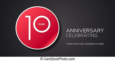 10 years anniversary vector logo, icon. Template design element with number