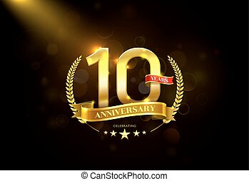 10 Years Anniversary with laurel wreath Golden Ribbon