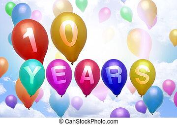 10 years happy birthday balloon colorful balloons