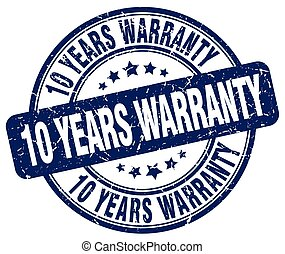 10 years warranty blue grunge round vintage rubber stamp
