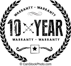 10 years warranty icon stamp