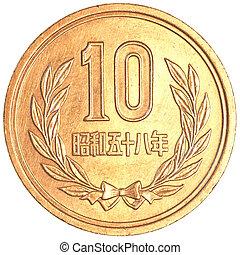 10, yens, japán, érme