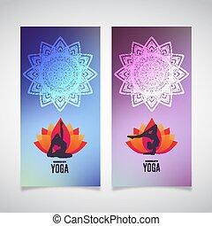 10, yoga, illustration., collection., prydnad, eps, silhouette., vektor, mänsklig, etnisk, baner