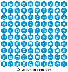 100, école, ensemble, bleu, icônes