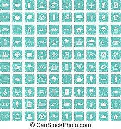 100, énergie solaire, icônes, ensemble, grunge, bleu