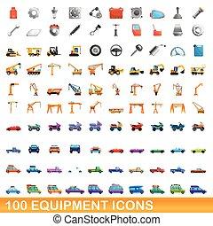 100, équipement, dessin animé, style, ensemble, icônes