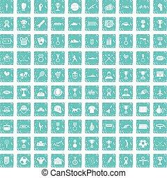 100, érem, ikonok, állhatatos, grunge, kék