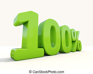 100%, índice porcentagem, ícone, ligado, um, fundo branco