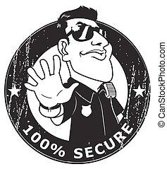 100 , φρουρός ασφάλειας , ασφαλίζω