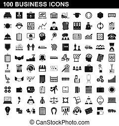 100, スタイル, セット, ビジネス, 単純なアイコン