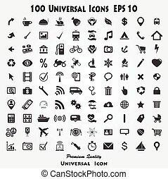 100, セット, 品質, アイコン