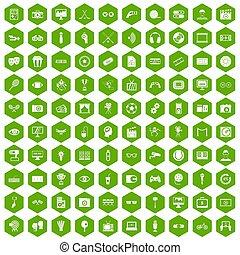 100, ビデオ, 六角形, 緑, アイコン