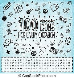 100, ベクトル, いたずら書き, アイコン