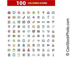 100, ベクトル, サイン, 網, セット, アイコン, illustration.