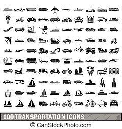 100, 交通機関, アイコン, セット, 中に, 単純である, スタイル