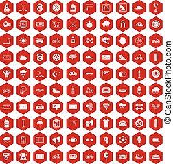 100, 六角形, サイクリング, 赤, アイコン