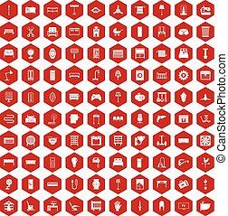 100, 六角形, 供給, 赤, アイコン