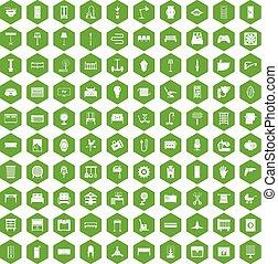 100, 六角形, 緑, 供給, アイコン