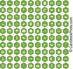 100, 六角形, 緑, 調和, アイコン