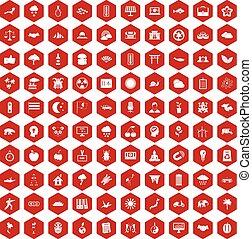 100, 六角形, 調和, 赤, アイコン