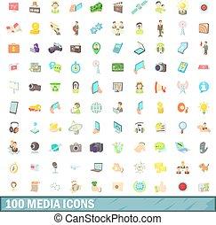100, 媒体, アイコン, セット, 漫画, スタイル
