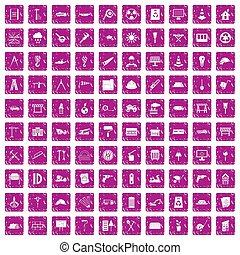 100, 建築現場, アイコン, セット, グランジ, ピンク