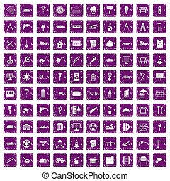 100, 建築現場, アイコン, セット, グランジ, 紫色