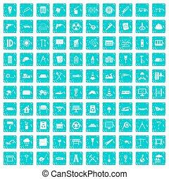 100, 建築現場, アイコン, セット, グランジ, 青