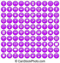 100, 建築現場, アイコン, セット, 紫色