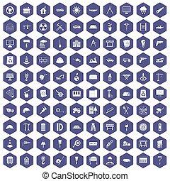 100, 建築現場, アイコン, 六角形, 紫色