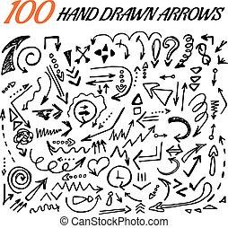 100, 手, 引かれる, 矢, セット, 作られた, 中に, vector.