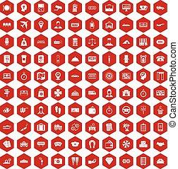 100, 支付, 錢, 圖象, 六角形, 紅色