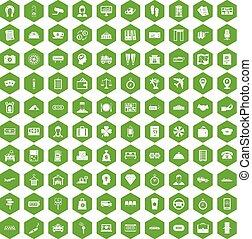 100, 支付, 錢, 圖象, 六角形, 綠色