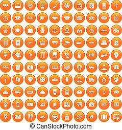 100, 支付, 錢, 圖象, 集合, 橙