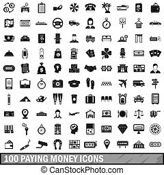 100, 支付, 錢, 圖象, 集合, 簡單, 風格