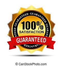 100%, 滿意, guaranteed, 金, 標簽, 由于, 紅的緞帶, 矢量, 插圖