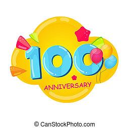 100, 記念日, 漫画, テンプレート, 年, かわいい, イラスト