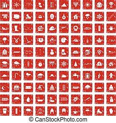 100, 雪, アイコン, セット, グランジ, 赤