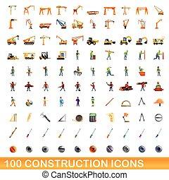 100, 风格, 图标, 放置, 卡通漫画, 建设