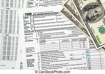 $100, 1040, retour, impôt, etats-unis, -, closeup, temps, factures
